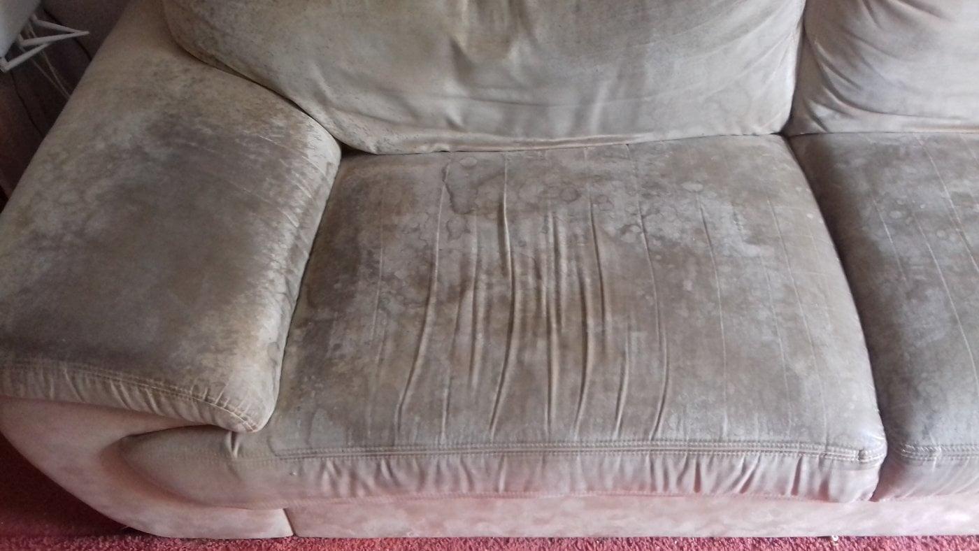 Kanapa galeria czyszczenie tapicerki - efekt przed i po